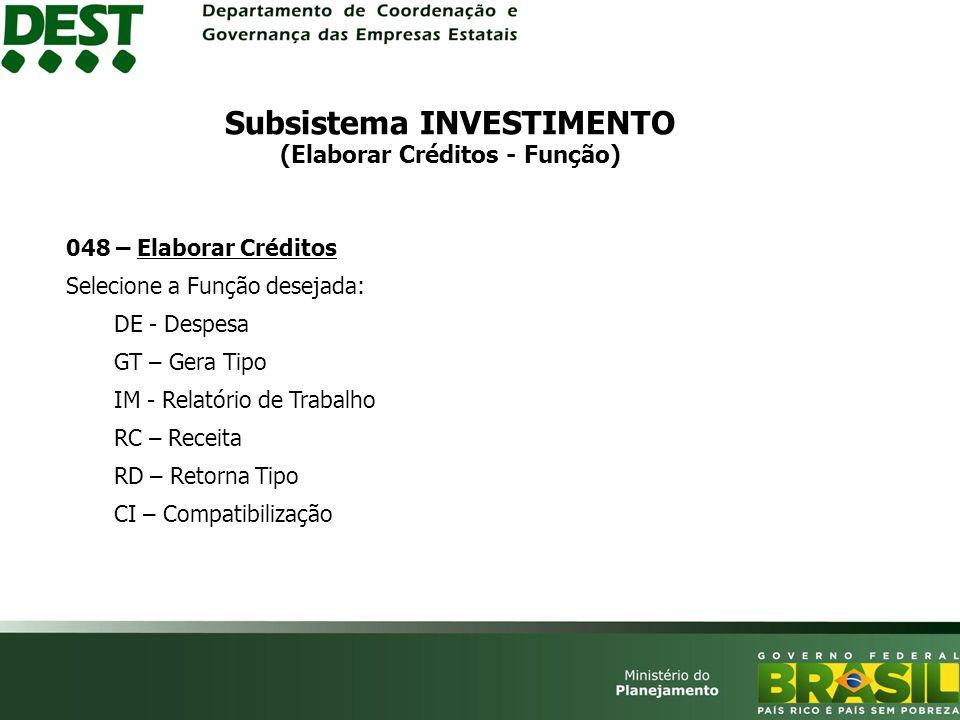 Subsistema INVESTIMENTO (Elaborar Créditos - Função)