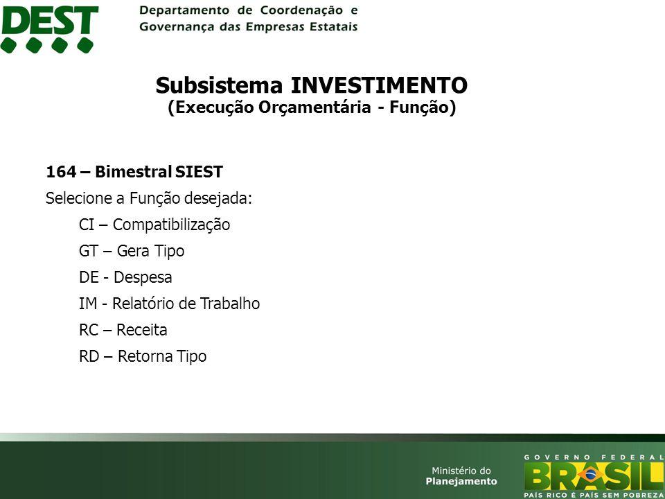 Subsistema INVESTIMENTO (Execução Orçamentária - Função)