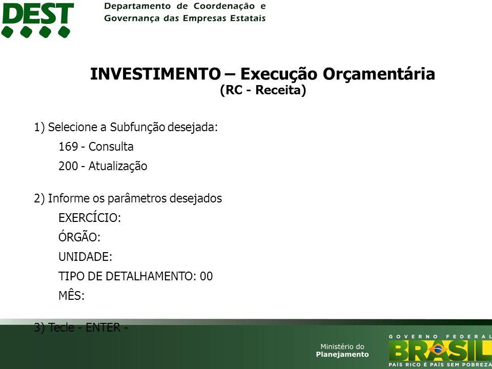 INVESTIMENTO – Execução Orçamentária (RC - Receita)