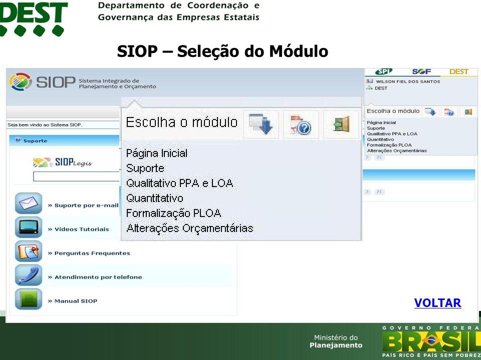 SIOP – Seleção do Módulo