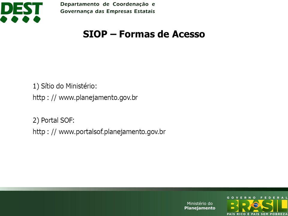 SIOP – Formas de Acesso 1) Sítio do Ministério: