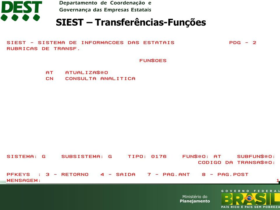 SIEST – Transferências-Funções