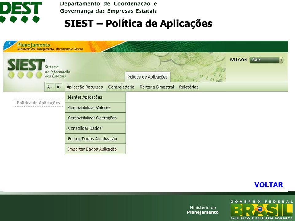 SIEST – Política de Aplicações