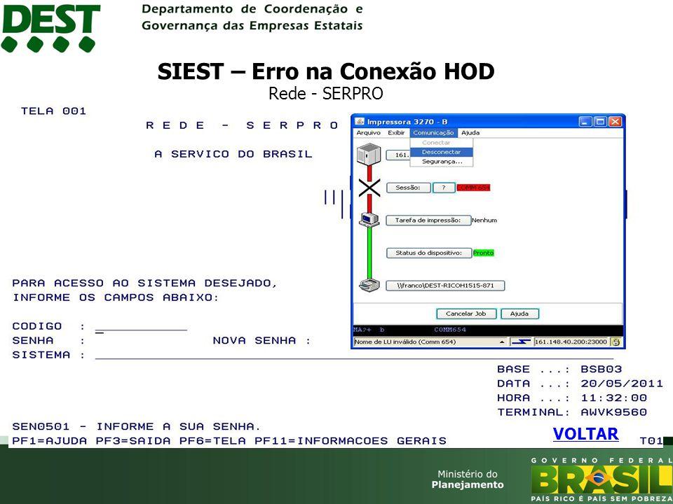 SIEST – Erro na Conexão HOD Rede - SERPRO