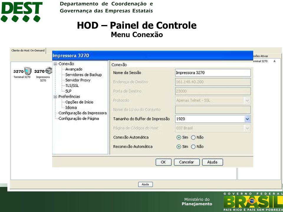 HOD – Painel de Controle Menu Conexão