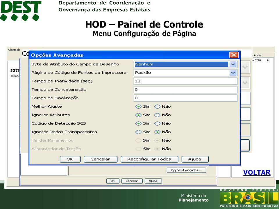 HOD – Painel de Controle Menu Configuração de Página