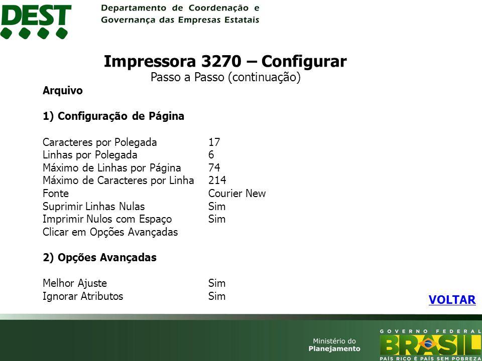 Impressora 3270 – Configurar Passo a Passo (continuação)