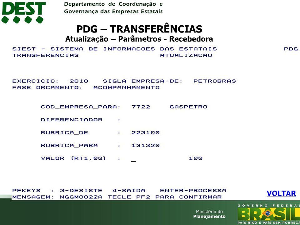 PDG – TRANSFERÊNCIAS Atualização – Parâmetros - Recebedora