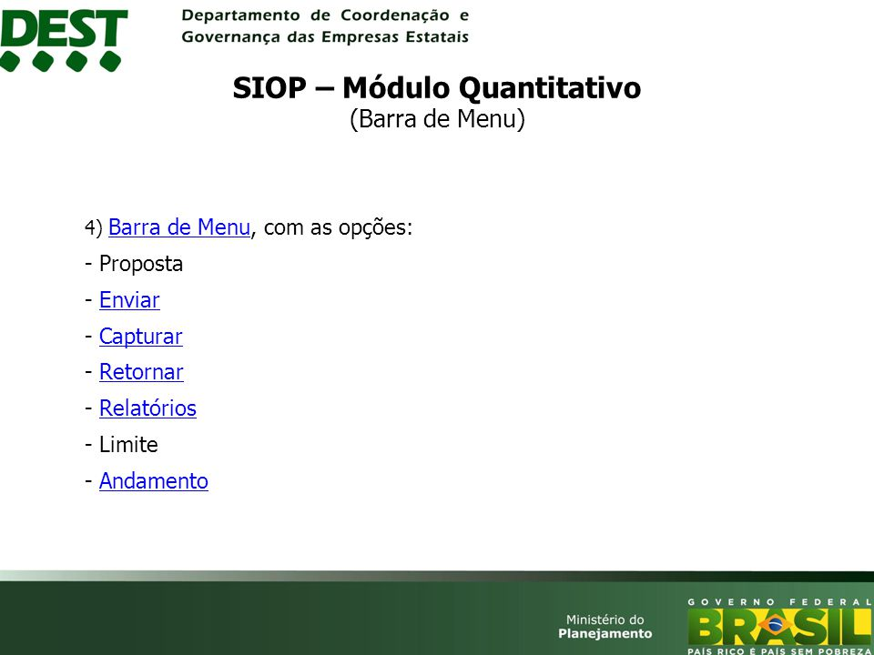 SIOP – Módulo Quantitativo (Barra de Menu)