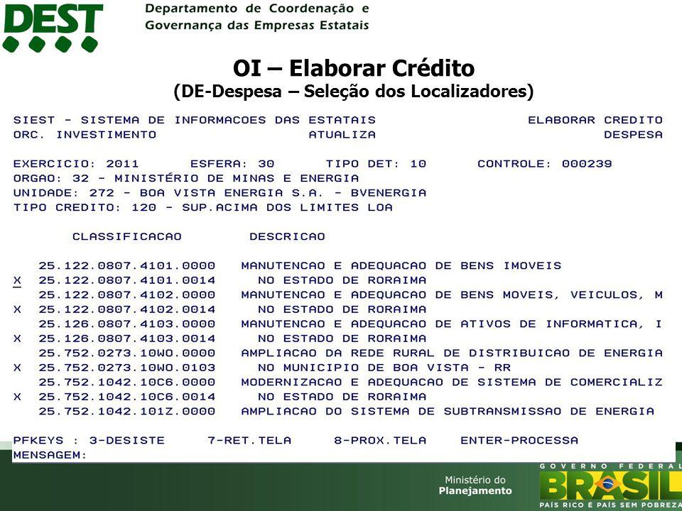 OI – Elaborar Crédito (DE-Despesa – Seleção dos Localizadores)