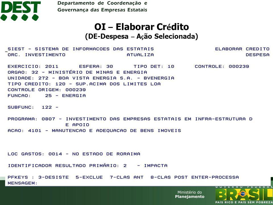 OI – Elaborar Crédito (DE-Despesa – Ação Selecionada)