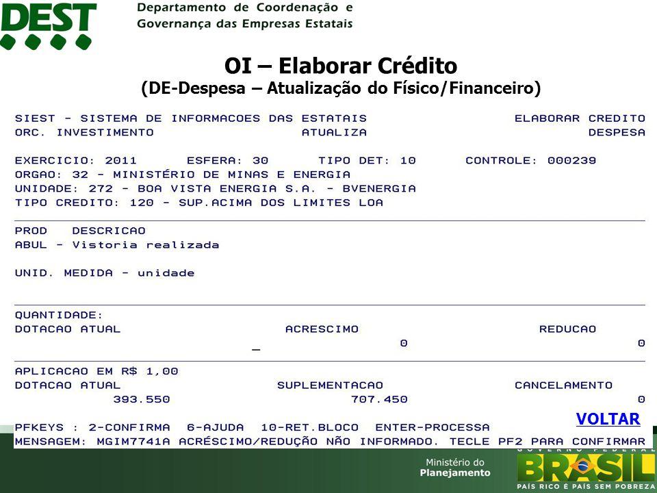 OI – Elaborar Crédito (DE-Despesa – Atualização do Físico/Financeiro)