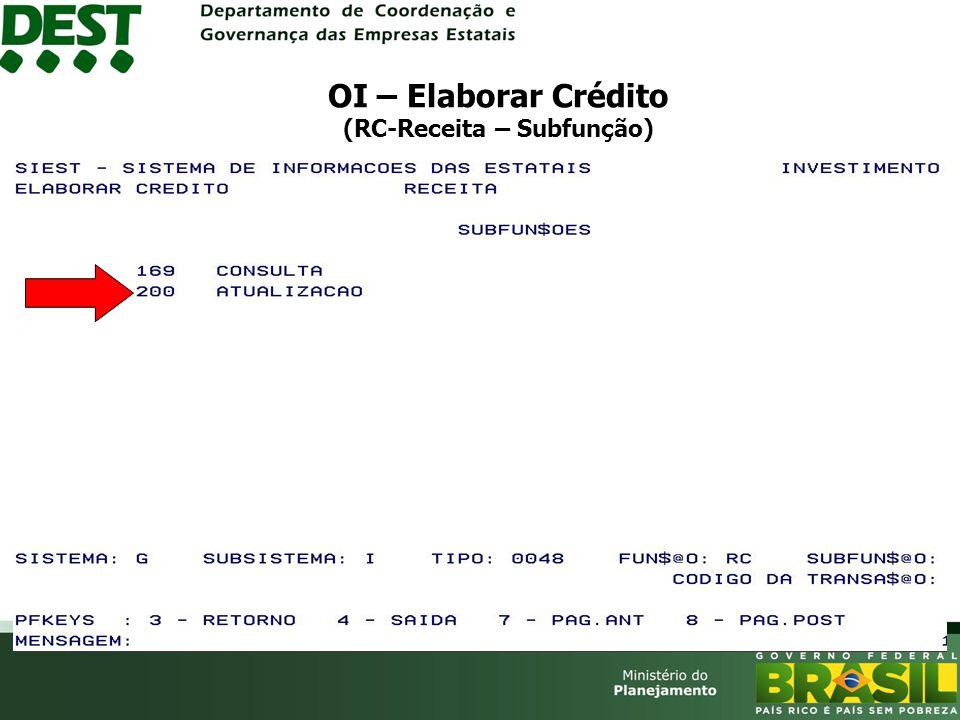 OI – Elaborar Crédito (RC-Receita – Subfunção)