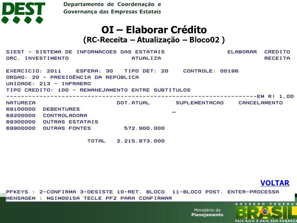 OI – Elaborar Crédito (RC-Receita – Atualização – Bloco02 )