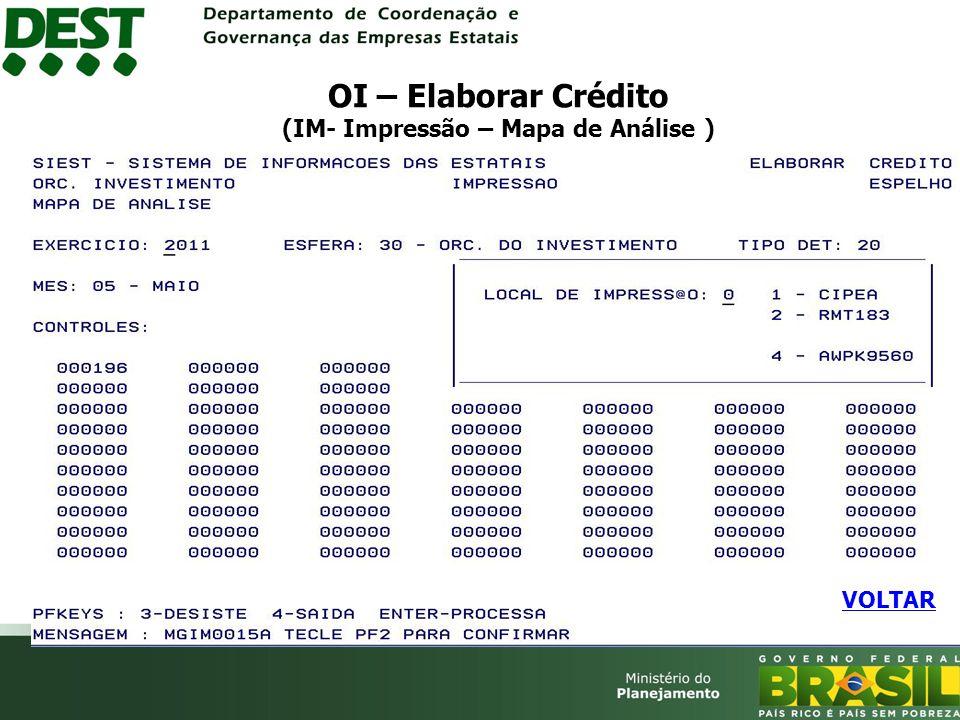 OI – Elaborar Crédito (IM- Impressão – Mapa de Análise )