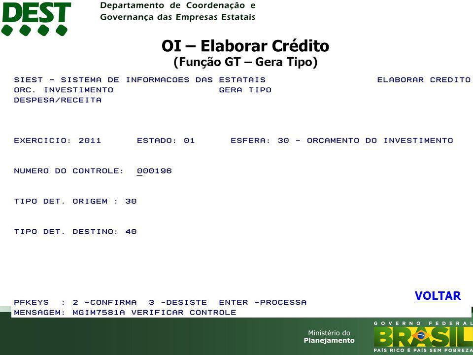 OI – Elaborar Crédito (Função GT – Gera Tipo)