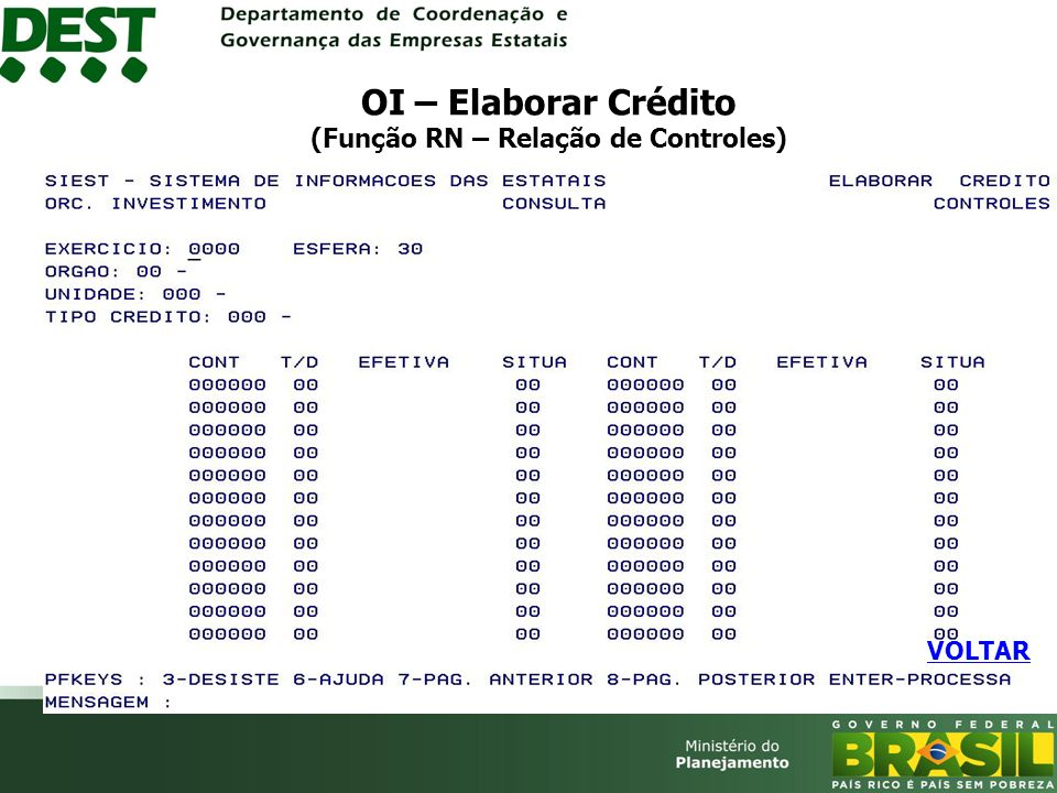 OI – Elaborar Crédito (Função RN – Relação de Controles)