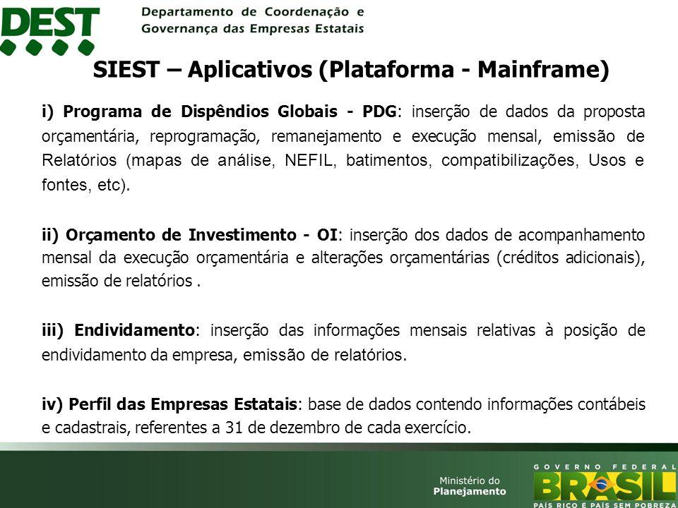 SIEST – Aplicativos (Plataforma - Mainframe)