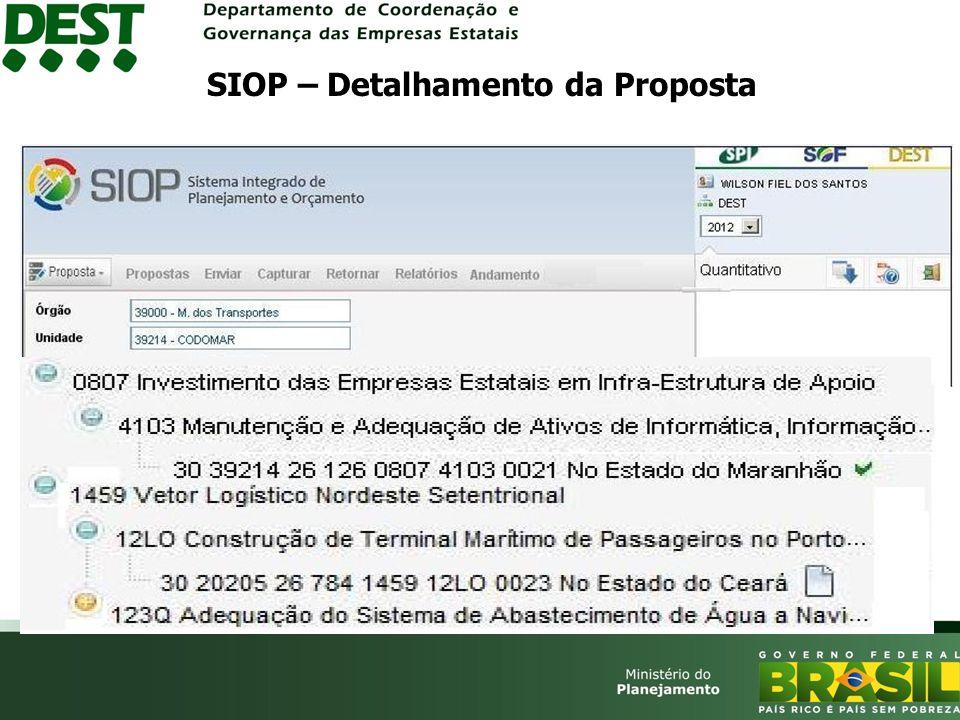 SIOP – Detalhamento da Proposta
