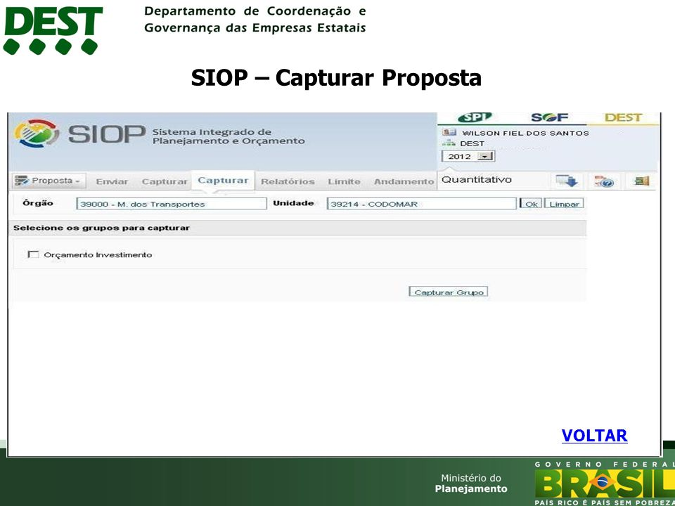 SIOP – Capturar Proposta