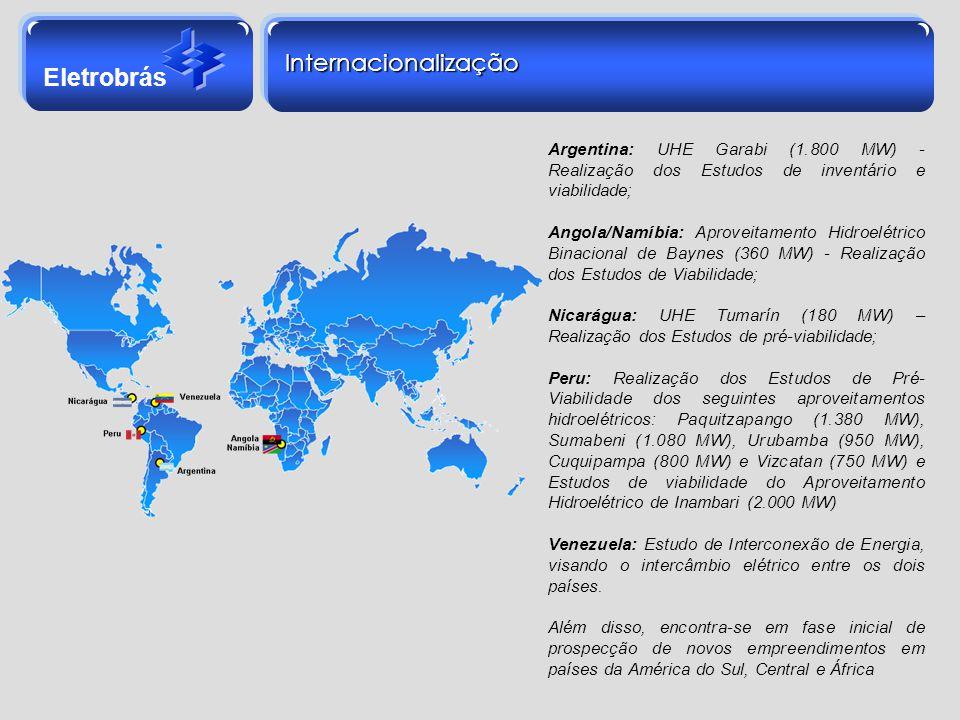 Internacionalização Argentina: UHE Garabi (1.800 MW) - Realização dos Estudos de inventário e viabilidade;