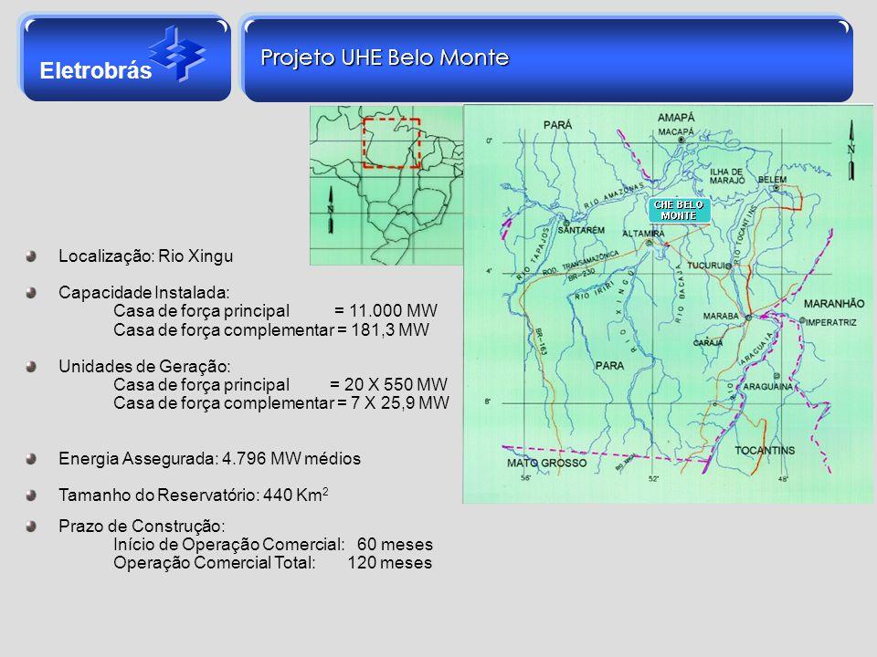 Projeto UHE Belo Monte Localização: Rio Xingu Capacidade Instalada: