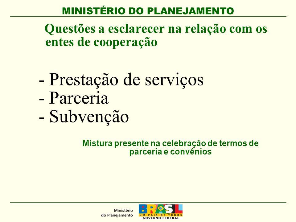 - Prestação de serviços - Parceria - Subvenção