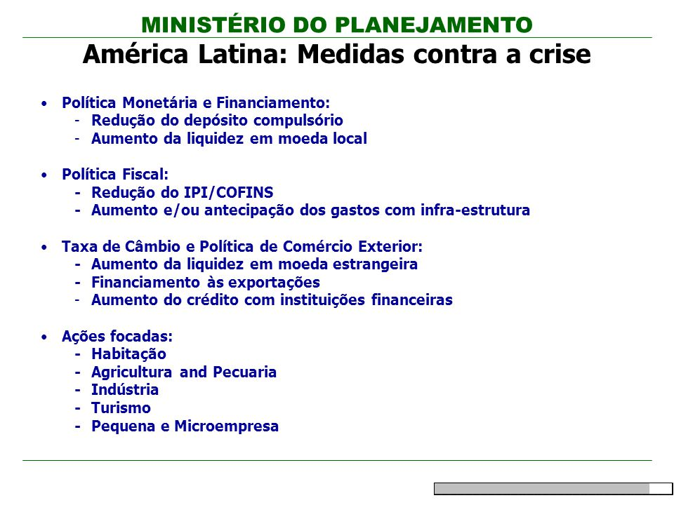América Latina: Medidas contra a crise