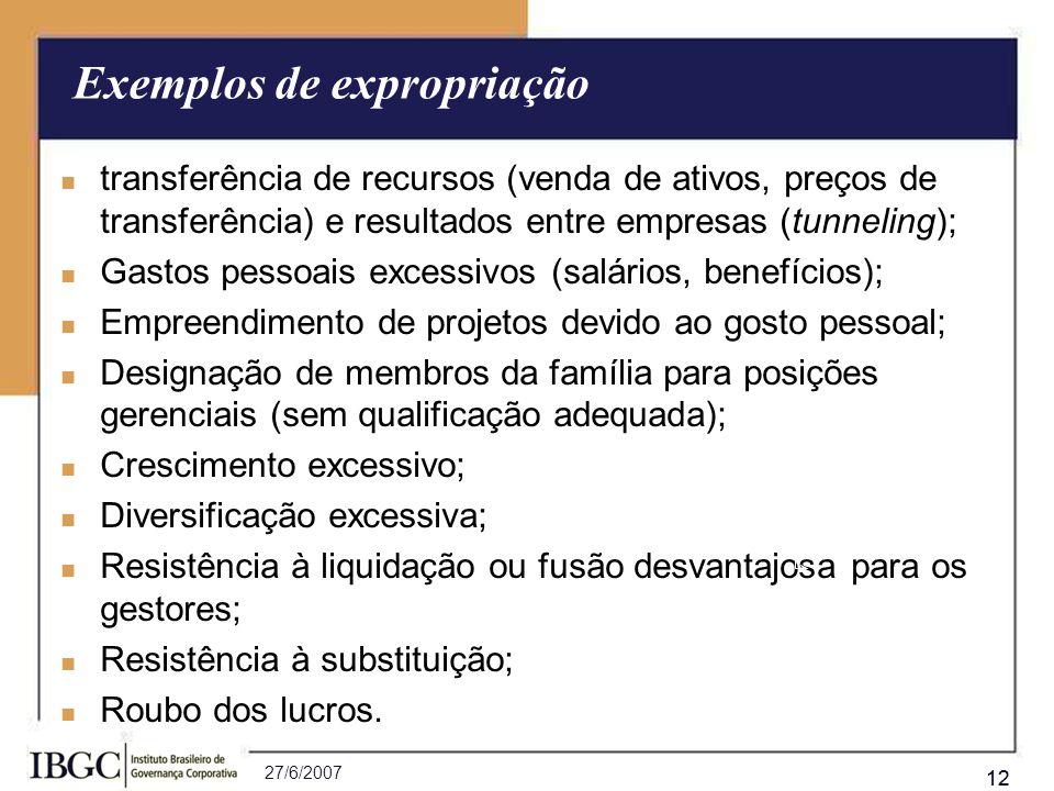 Exemplos de expropriação