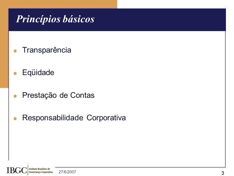 Princípios básicos Transparência Eqüidade Prestação de Contas
