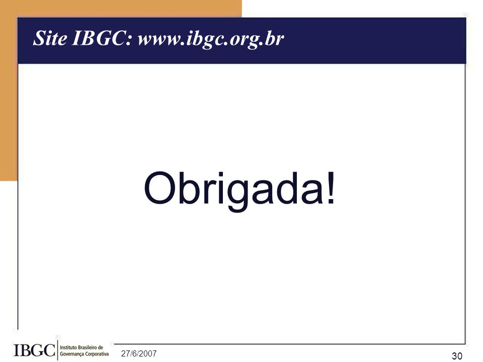 Site IBGC: www.ibgc.org.br