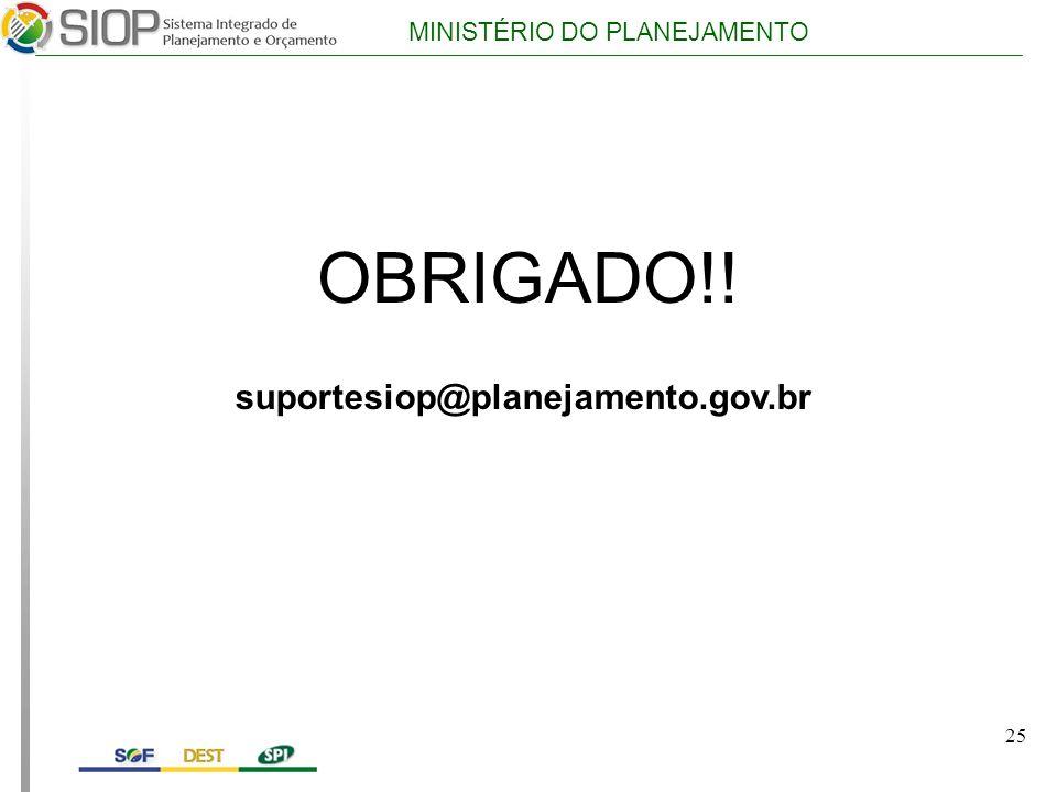 OBRIGADO!! suportesiop@planejamento.gov.br