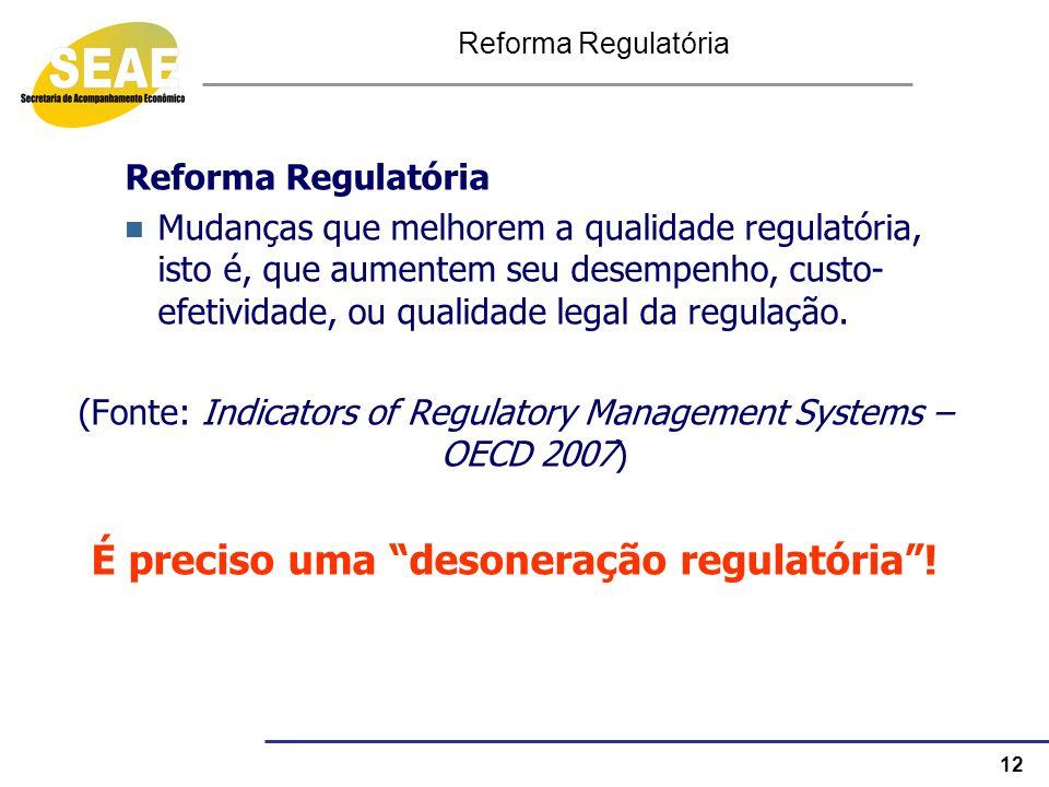 É preciso uma desoneração regulatória !