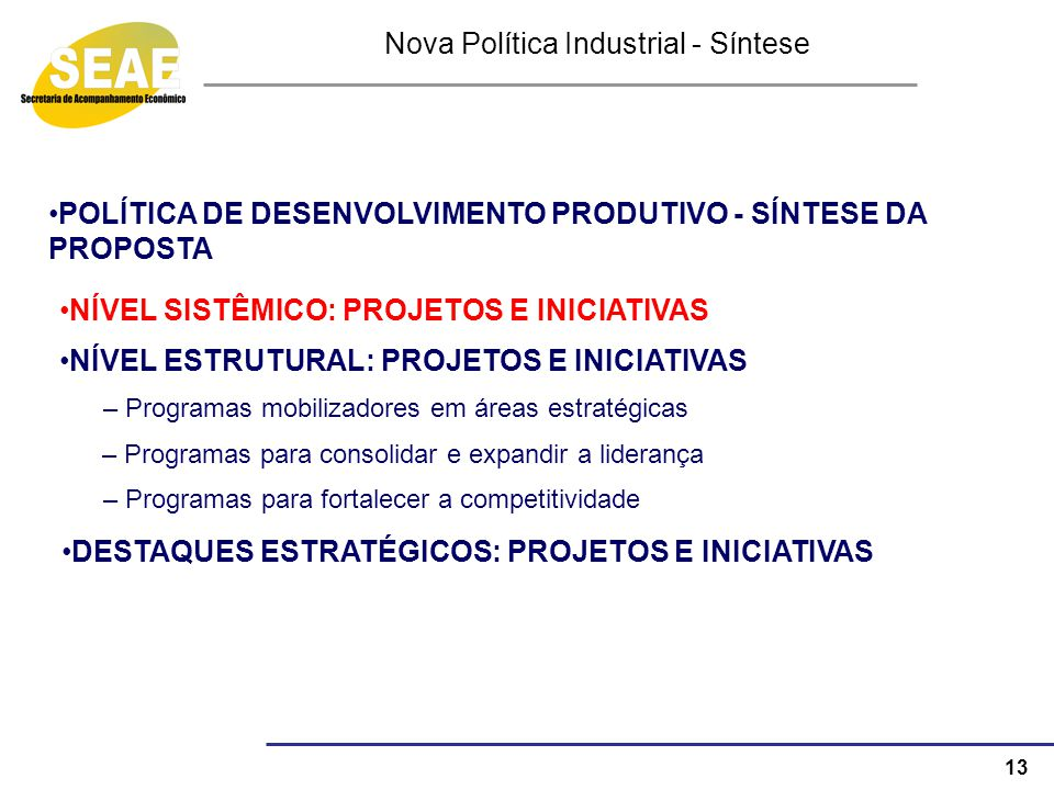 Nova Política Industrial - Síntese