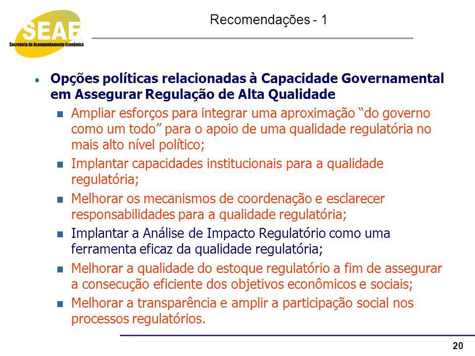 Recomendações - 1 Opções políticas relacionadas à Capacidade Governamental em Assegurar Regulação de Alta Qualidade.