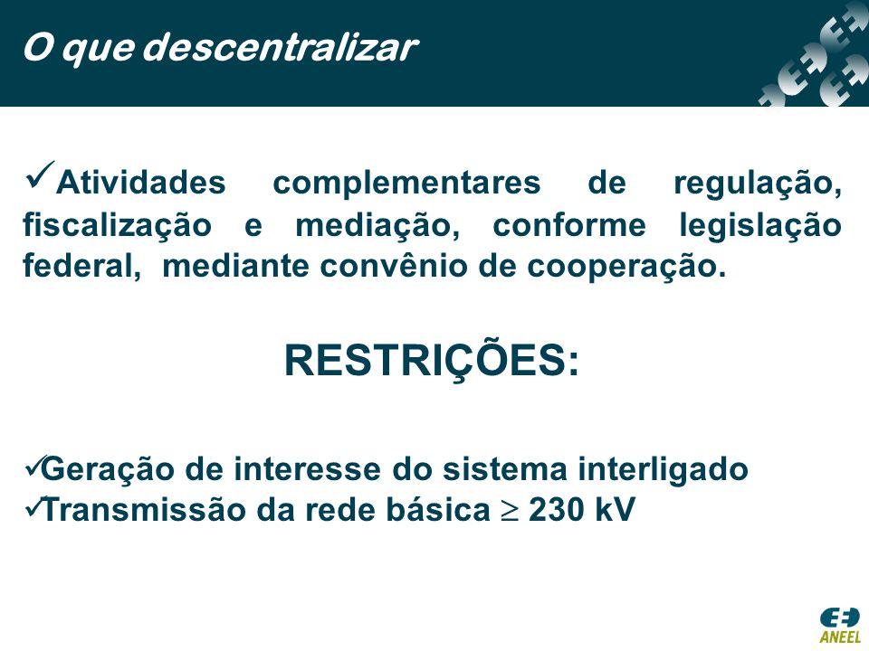 O que descentralizar Atividades complementares de regulação, fiscalização e mediação, conforme legislação federal, mediante convênio de cooperação.