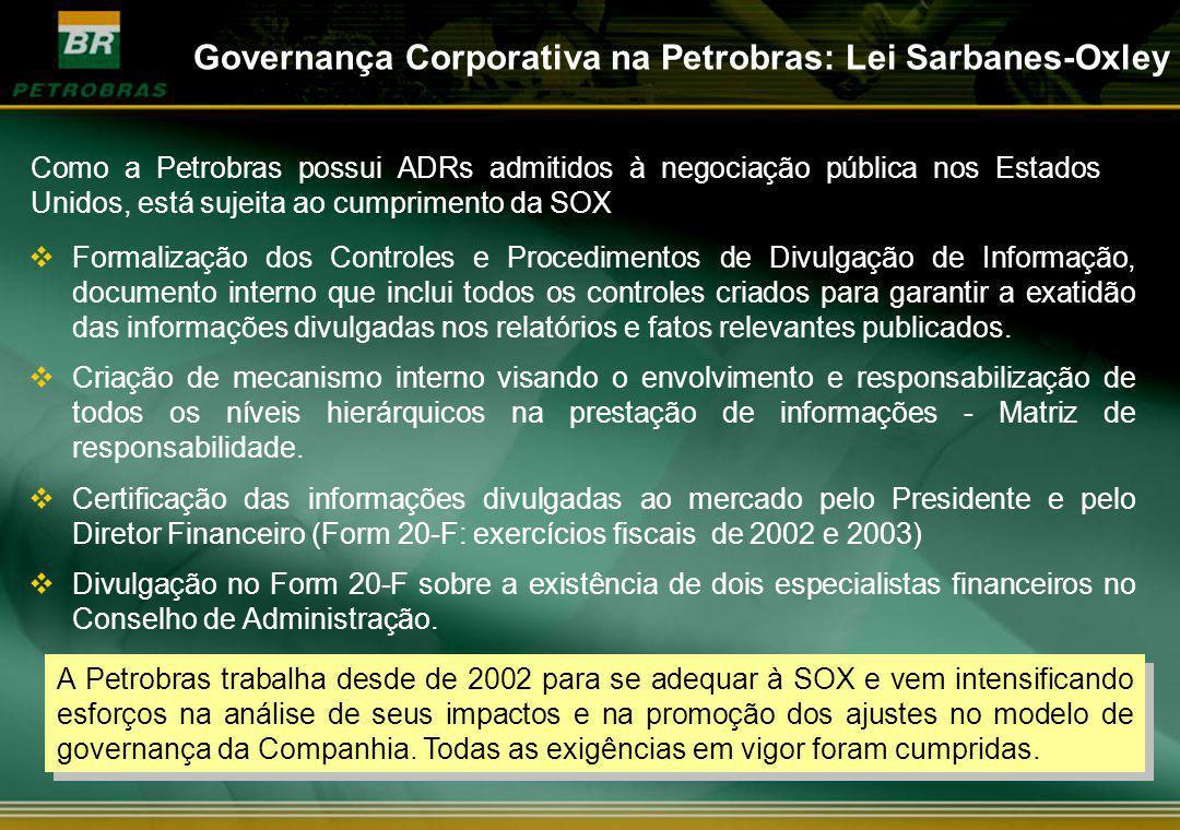 Governança Corporativa na Petrobras: Lei Sarbanes-Oxley