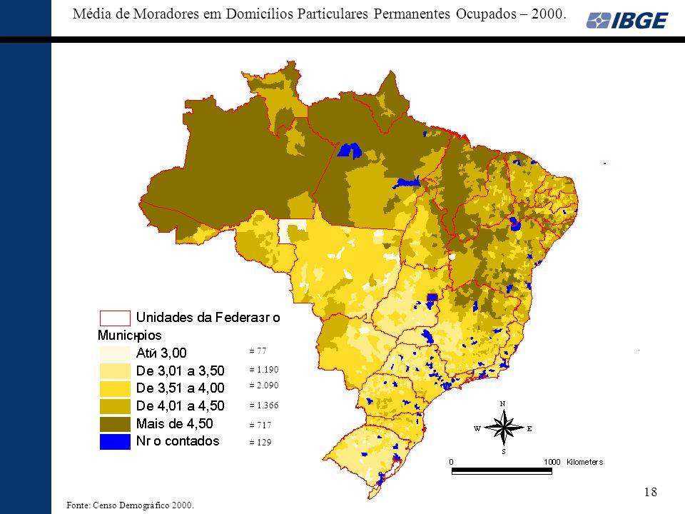 Média de Moradores em Domicílios Particulares Permanentes Ocupados – 2000.