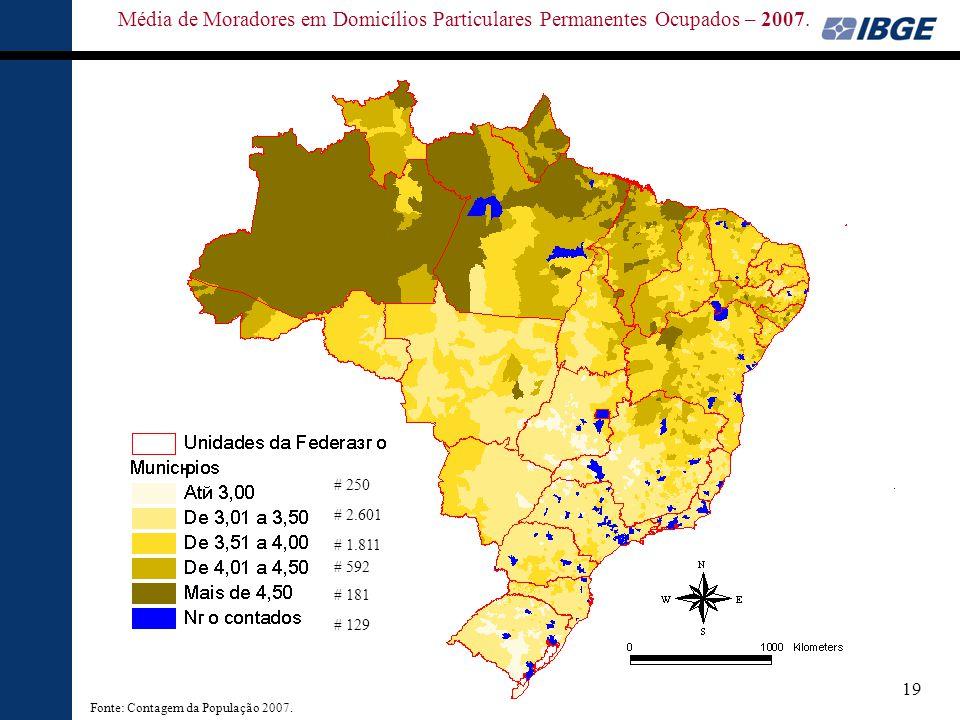 Média de Moradores em Domicílios Particulares Permanentes Ocupados – 2007.