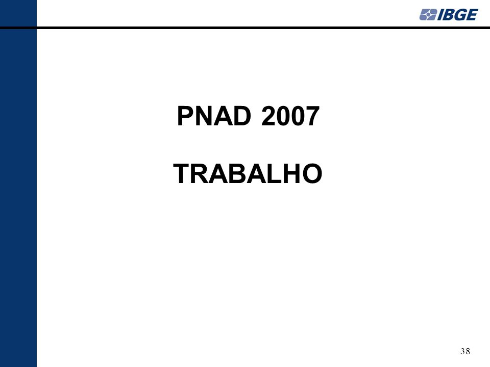 PNAD 2007 TRABALHO
