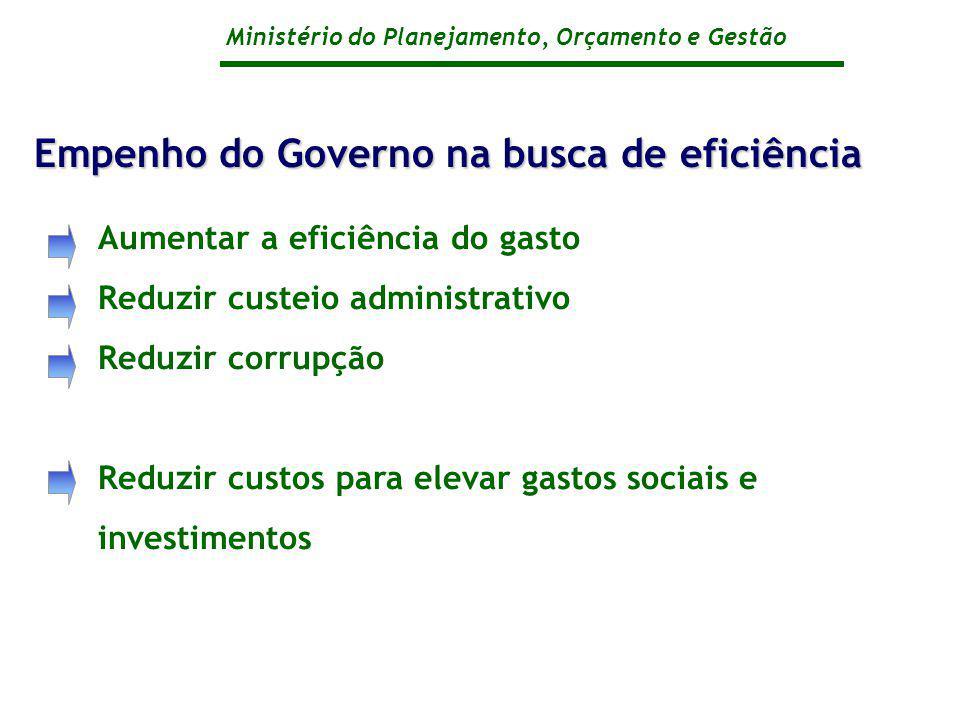 Empenho do Governo na busca de eficiência
