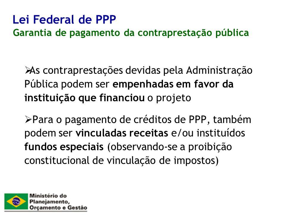 Lei Federal de PPP Garantia de pagamento da contraprestação pública.