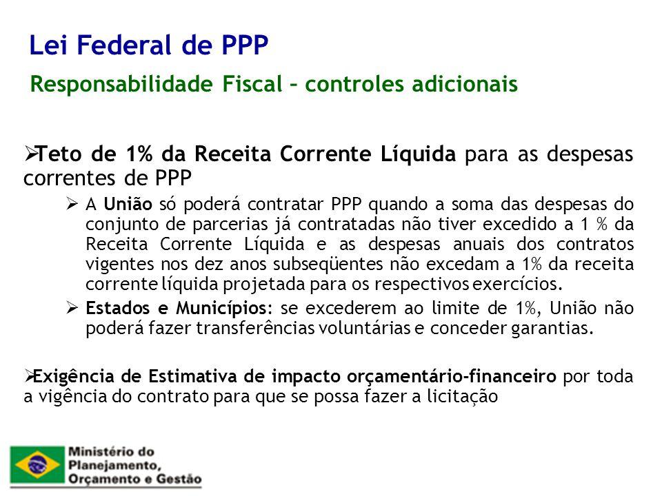 Lei Federal de PPP Responsabilidade Fiscal – controles adicionais