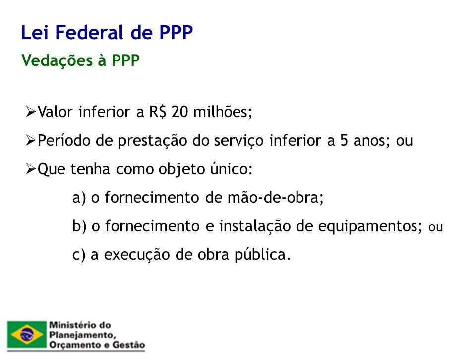 Lei Federal de PPP Vedações à PPP Valor inferior a R$ 20 milhões;