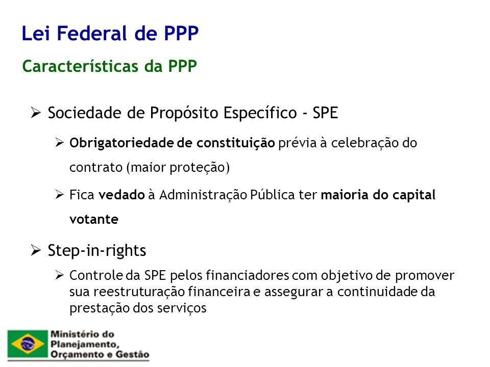 Lei Federal de PPP Características da PPP
