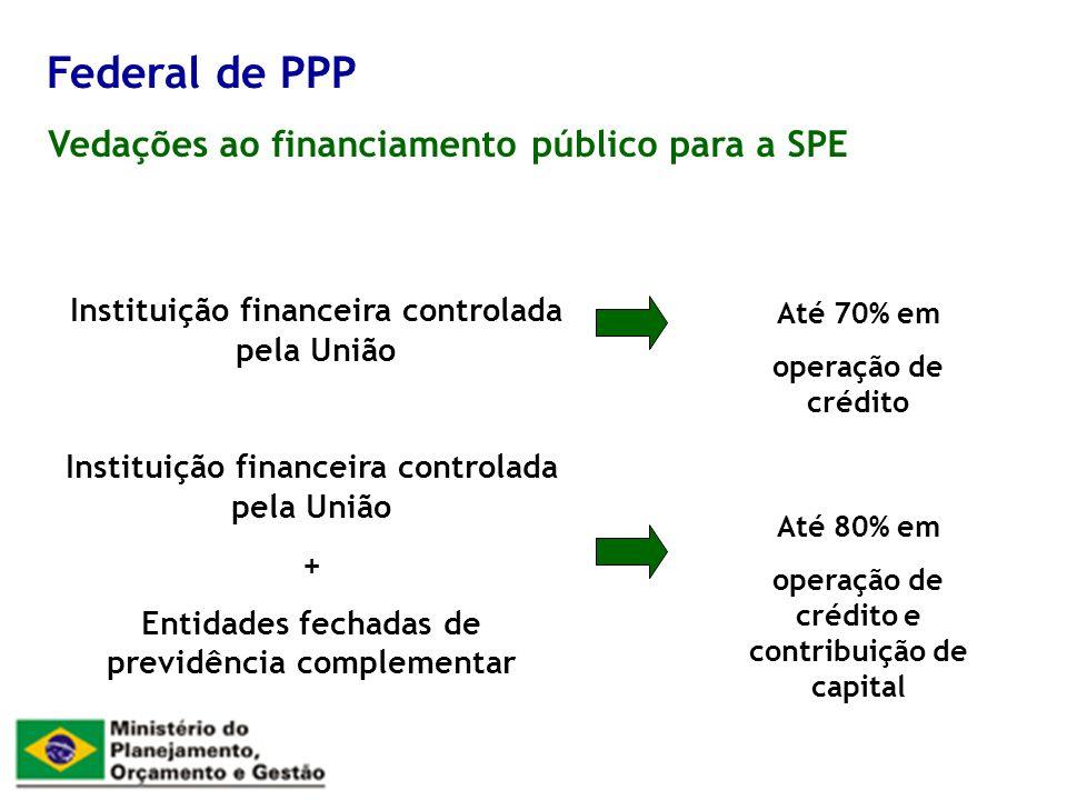 Federal de PPP Vedações ao financiamento público para a SPE
