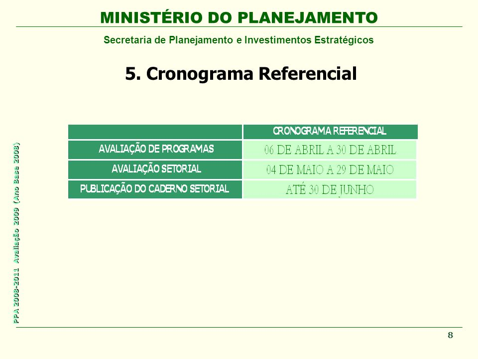 5. Cronograma Referencial
