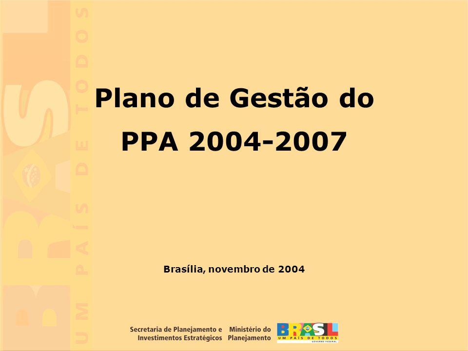 Plano de Gestão do PPA 2004-2007 Brasília, novembro de 2004
