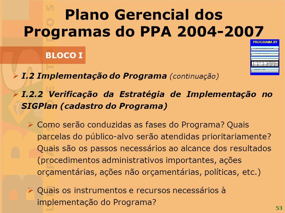 Plano Gerencial dos Programas do PPA 2004-2007