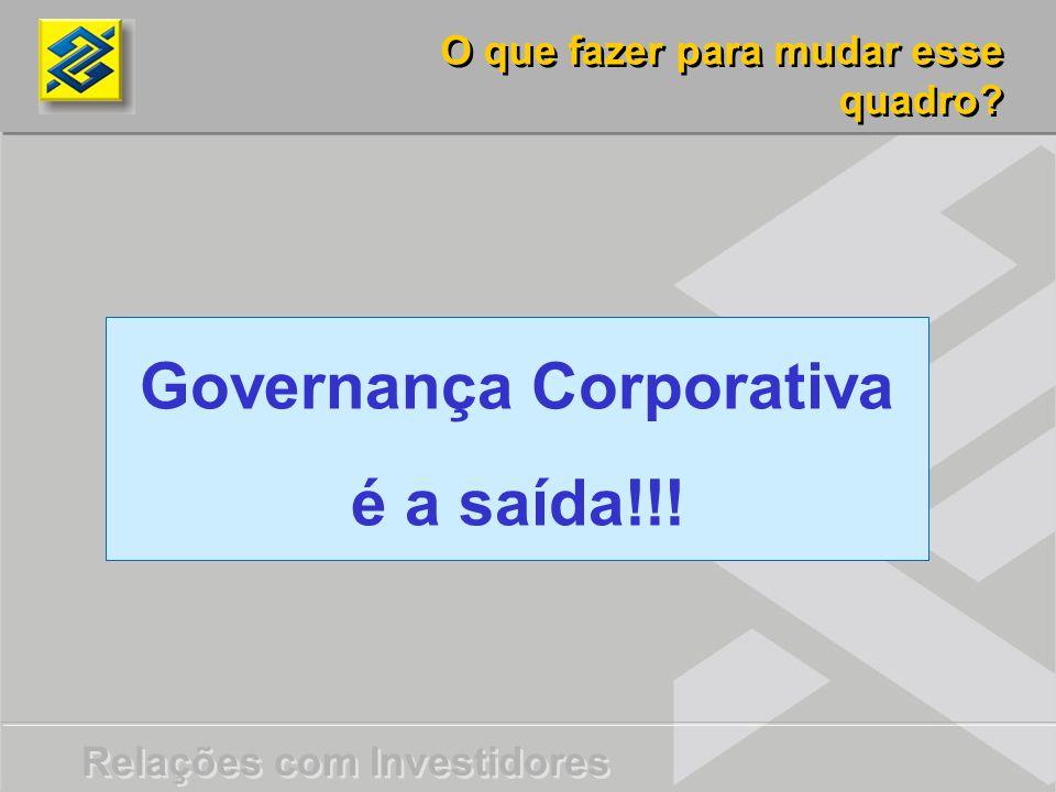 Governança Corporativa é a saída!!!